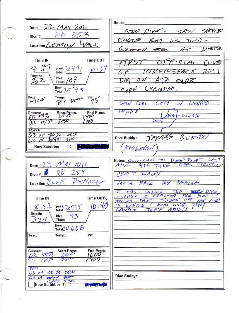 Free Downloadable Scuba Logbook Page For Inspiration